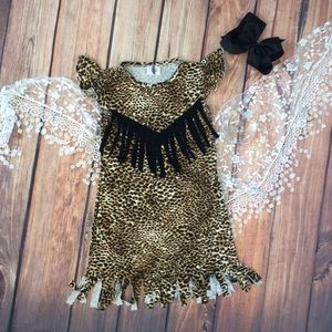 Other - Boutique Girl Animal Print Fringe Dress & Bow