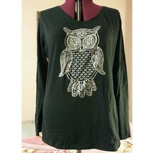 Hanes Tops - Plus Size Hanes Owl Long Sleeve Top