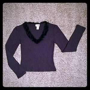 Rave Sweaters - Gray ribbed Long sleeve Sweater w/ black fur trim