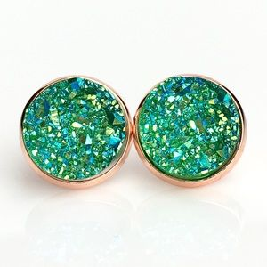 thejeweladdict Jewelry - 3 for 15🎀 green iridescent faux druzy studs