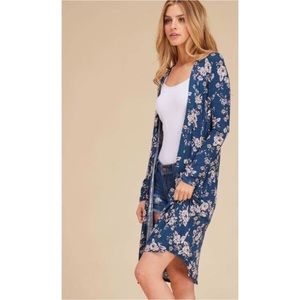 Blue and Pink Floral Duster