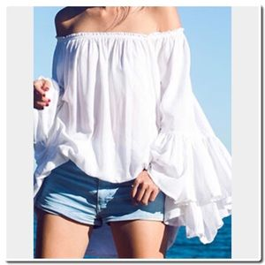 Tops - White Boat Neck Loose Blouse-FIRM