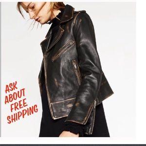 Zara Jackets & Blazers - ZARA LEATHER MOTO DISTRESSED WORN x1 EUC 2016