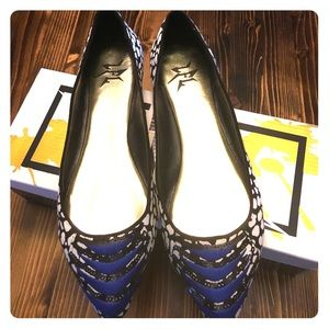 LFL Shoes - Black, White and Blue Flats