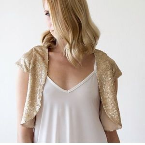 Haute Hippie Gold Sequin Bolero Jacket Wedding