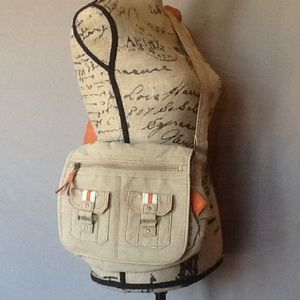 Handbags - Crossbody purse tan and orange 11X9