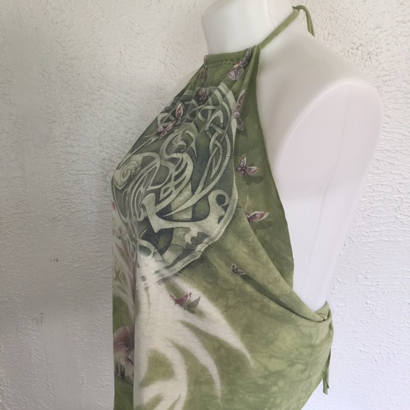 Vintage Tops - VTG OOAK tie dye luna moth handmade halter top