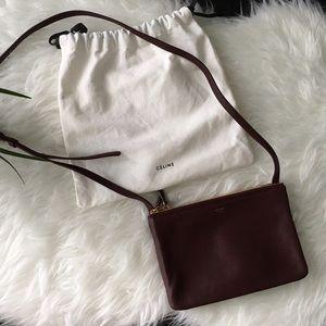 Celine Handbags - Celine Small Mahogany Acajou Brown Trio Bag