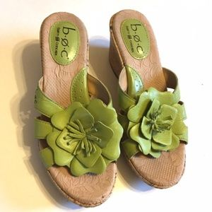 Born Shoes - B.O.C. by Born Green Cork Wedges with Flowers SZ 6
