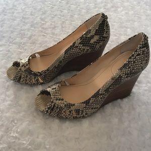 Calvin Klein Shoes - CALVIN KLEIN SNAKE PRINT PEEP TOE WEDGES