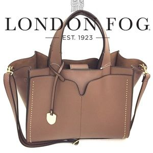 London Fog Handbags - London Fog  Satchel/ Tote in Taupe-Offers Welcome!