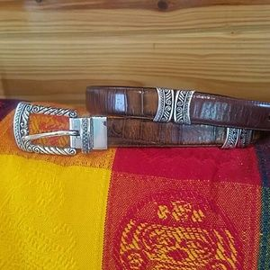 Brighton Leather and Silver Belt