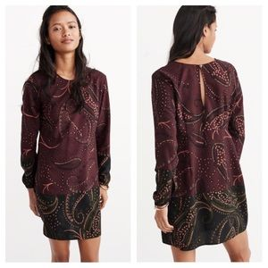 Abercrombie & Fitch Paisley Long Sleeve Dress NEW
