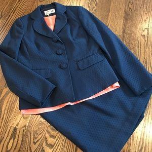Le Suit Other - Navy polka dot LeSuit skirt suit