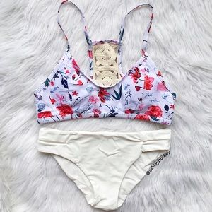 B-Long Boutique  Other - white and pink floral / cream halter bikini set