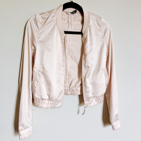 e8da762eb Champagne/baby pink cropped bomber jacket