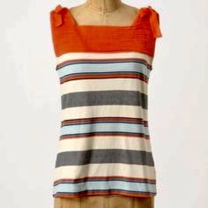 Anthropologie Tops - Anthropologie Postage Stamp ColorBlocked Tie Tank
