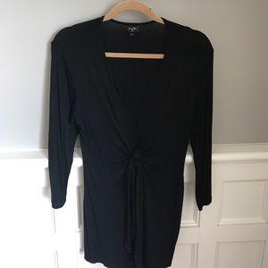 Olian Tops - Black long sleeve low cut neckline top