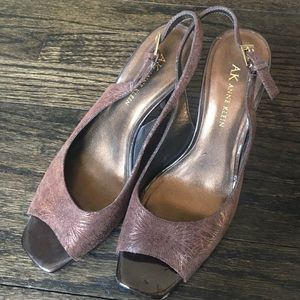 Anne Klein Shoes - Ann Klein Brown and Gold Heels