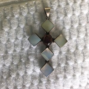Jewelry - Sterling silver, mother of pearl, garnet pendant