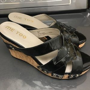 "Me Too Black Patent & Cork Wedges ""Jafar"" Size 7"