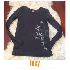 Lucy Tops - Lucy Women's Long Sleeve Bird Print Dark Gray Tee