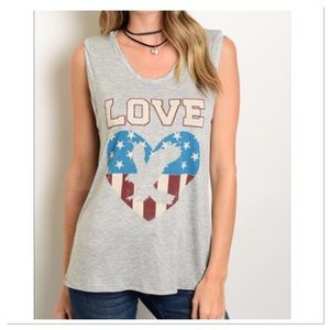 Boutique Tops - Gray Love Tank
