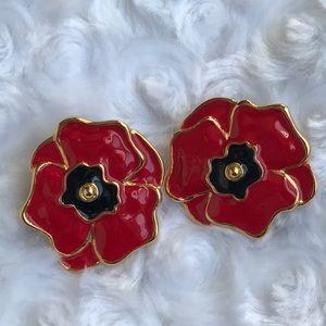 """Escada Jewelry - VINTAGE ESCADA """"RED POPPY"""" EARRINGS"""