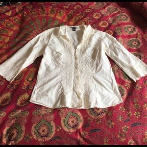 H&M Tops - H&M Ivory Lace Trim Button Down