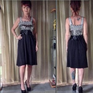 BLACK VINTAGE COCKTAIL DRESS WITH SEQUIN BODICE