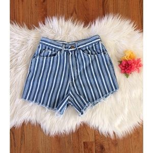 Vintage Pants - Vintage 80's Striped High Waisted Mom Shorts 🍉