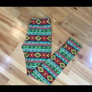 Pants - ⬇️ Tribal Ethnic leggings Green Red Yellow