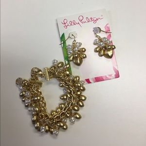 Lilly Pulitzer earrings and matching bracelet.