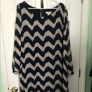 Cato Dresses & Skirts - Cato Women's navy chevron dress