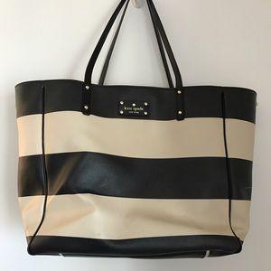 Large striped Kate Spade tote bag