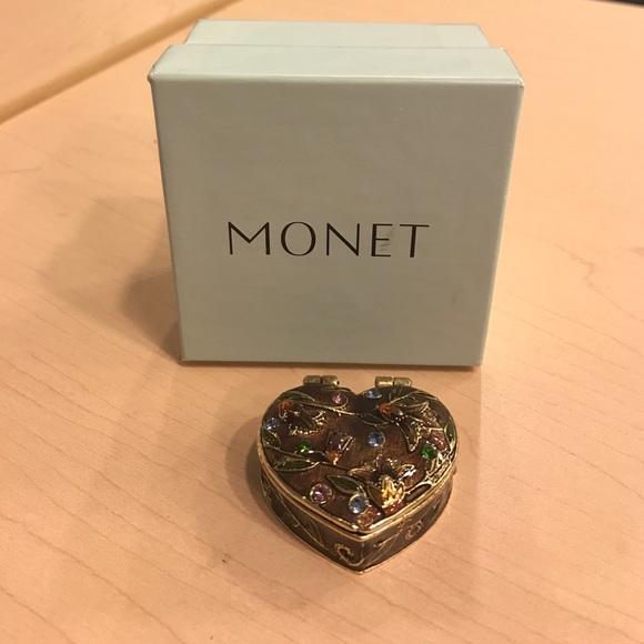 94 off Monet Jewelry Heart Pill Box Poshmark