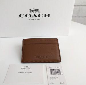 Coach Other - NWT Mens Coach Dark Saddie Brown Money Clip Wallet
