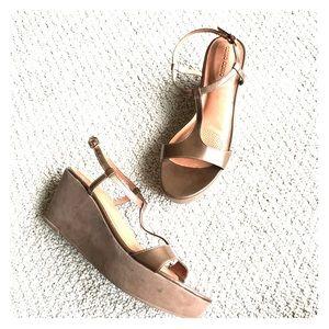 Corso Como Shoes - Corso Como Metallics Brown Leather Wedge Sandals