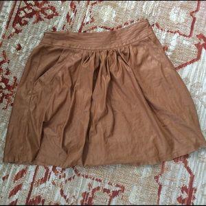 Mustard Seed Dresses & Skirts - Vegan Leatherette Tan Mini Skirt