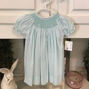 Petit Ami  Other - Smocked Baby Blue Dress with Bonnet