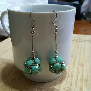 Jewelry - Green Stone Earrings incased in Silver
