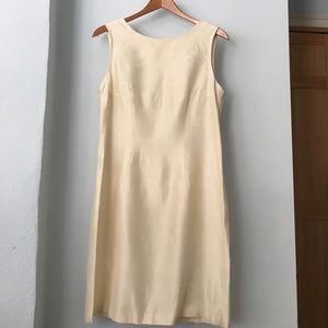 Vintage rayon sleeveless dress in ivory.