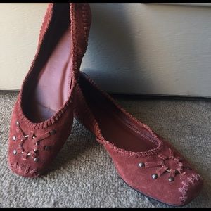 Frye Shoes - Frye reddish brown Braided studs suede flats 9.5