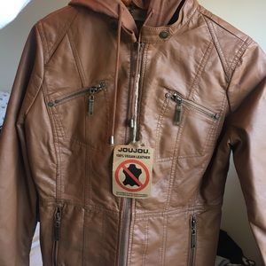 carmel colored vegan hooded leather jacket