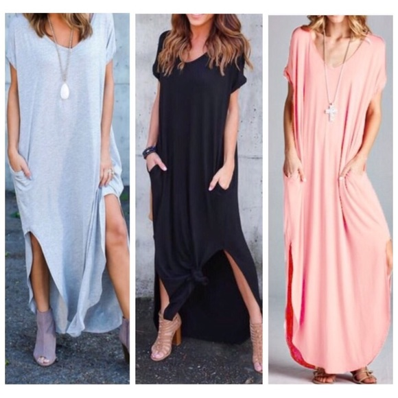 006024aaea Blush Oversize Loose Fit Maxi Pocket Dress S M L