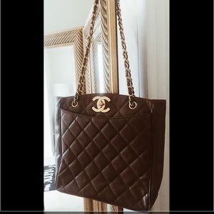 Vintage Brown Chanel Caviar Gold CC Shopper