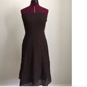 J Crew Brown Cotton Crinkle Strapless Dress D438