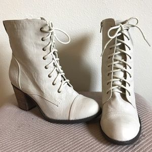 Diba Shoes - Ivory Lace Up Booties