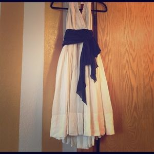 BCBGMaxAzria Dresses & Skirts - BCBG Cream Dress w/ Black and Lace detail.