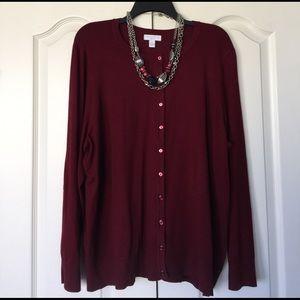 Charter Club Sweaters - Maroon cardigan